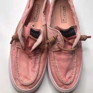 Salmon pink women's sperry top siders size 6 shoes